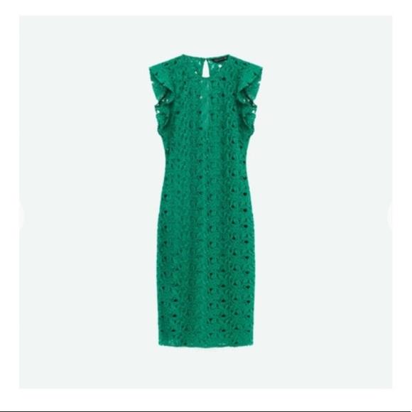 Zara Dresses & Skirts - Zara Green Lace Dress With Raw Shoulder Frills